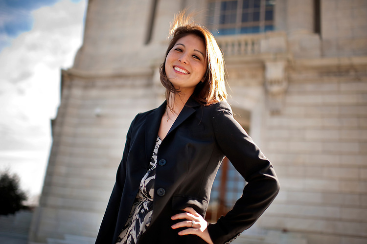 UNITED STATES - FEBRUARY 17:  Ashley Nagaoka, from the office of Rep. Collen Hanabusa, D-Hawaii, is photographed outside of Cannon Building.  (Photo By Tom Williams/CQ Roll Call)