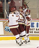 Patrick Wey (BC - 6), Paul Carey (BC - 22), Brian Gibbons (BC - 17) - The Boston College Eagles defeated the visiting University of Vermont Catamounts 6-0 on Sunday, November 28, 2010, at Conte Forum in Chestnut Hill, Massachusetts.