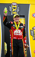 May 1, 2016; Baytown, TX, USA; NHRA top fuel driver Doug Kalitta celebrates after winning the Spring Nationals at Royal Purple Raceway. Mandatory Credit: Mark J. Rebilas-USA TODAY Sports