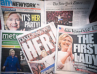 Headlines of New York newspapers on Wednesday, June 8, 2016 report on the results of the previous day's primaries where Hillary Clinton, winning both New Jersey and California is the presumptive Democratic presidential candidate. Clinton is the first woman from a major party to be the nominee for president.  (© Richard B. Levine)