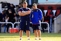 Bath Rugby coaches Toby Booth and Darren Edwards look on. Pre-season friendly match, between Yorkshire Carnegie and Bath Rugby on August 13, 2016 at Ilkley RFC in Ilkley, England. Photo by: Ian Smith / Onside Images