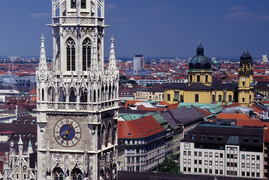 aerial, Munich, Germany, Bavaria, Munchen, Europe, Aerial view of Neues Rathaus and downtown Munich.