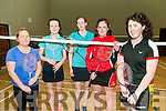 Newtownsandes  Badminton Open: Taking part in the Newtownsandes Co-op Invitation  Badminton Open tournament at the Moyvane Community Centre on Sunday last were Deirdre McAuliffe, Listowel, Eilish Brosnan, Castleisland, Marcelle Murphy, Listowel, Maireaf O'Connell, Castleisland & Marie Kennelly, Moyvane.