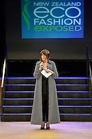 Denise Anglesey, New Zealand Eco Fashion Exposed Buyers &amp; Media Showcase at Notre Dame Performing Arts Centre, Lower Hutt, New Zealand on Thursday 24 July 2014. <br /> Photo by Masanori Udagawa. <br /> www.photowellington.photoshelter.com.