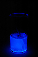 LUMINESCENCE CAUSED BY CHEMICAL REACTION<br /> Reaction Of Luminol, Sodium Perborate And CuSO4.The addition of copper sulfate causes a blue glow. Luminescence or cool light is caused by the movement of electrons within a substance from more energetic states to less energetic states.