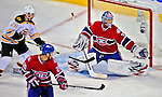 22 April 2009: Montreal Canadiens goaltender Carey Price makes a third period save against the Boston Bruins at the Bell Centre in Montreal, Quebec, Canada. The Bruins advanced to the Eastern Semi-Finals, eliminating the Canadiens from Stanley Cup competition with a 4-1 win and series sweep. ***** Editorial Sales Only ***** Mandatory Credit: Ed Wolfstein Photo
