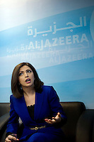Newsreader Eman Banourah in a meeting at news channel Al Jazeera in Doha.