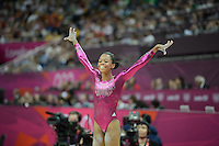 London, England - Thursday, August 2, 2012: USA's Gabrielle Douglas competes in the balance beam and wins gold in the women's gymnastics individual all around at the London 2012 Summer, Olympic Games, North Greenwich Arena, London. .
