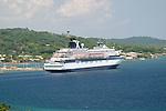The Celebrity Cruise ship Zenith at dock in Roatan Honduras