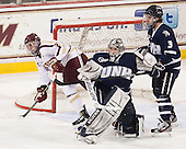 Steven Whitney (BC - 21), Casey DeSmith (UNH - 29), Austin Block (UNH - 3) - The Boston College Eagles and University of New Hampshire Wildcats tied 4-4 on Sunday, February 17, 2013, at Kelley Rink in Conte Forum in Chestnut Hill, Massachusetts.