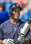 11 March 2014: New York Yankees outfielder Antoan Richardson awaits his turn in the batting cage prior to a Spring Training game against the Washington Nationals at Space Coast Stadium in Viera, Florida. The Nationals defeated the Yankees 3-2 in Grapefruit League play. Mandatory Credit: Ed Wolfstein Photo *** RAW (NEF) Image File Available ***