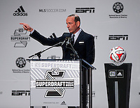 MLS commissioner Don Garber speaks to the crowd during the MLS SuperDraft at the Pennsylvania Convention Center in Philadelphia, PA, on January 16, 2014.