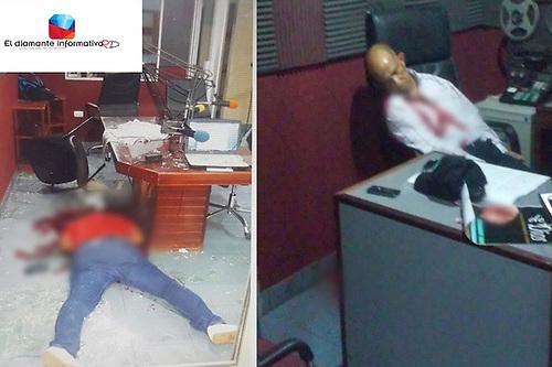 Los cadáveres de los comunicadores asesinados.