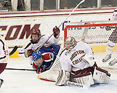Michael Matheson (BC - 5), Terrence Wallin (UML - 9), Parker Milner (BC - 35) - The University of Massachusetts Lowell River Hawks defeated the Boston College Eagles 4-2 (EN) on Tuesday, February 26, 2013, at Kelley Rink in Conte Forum in Chestnut Hill, Massachusetts.
