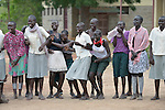 Girls laughing at the Loreto Secondary School in Rumbek, South Sudan. The school is run by the Institute for the Blessed Virgin Mary--the Loreto Sisters--of Ireland.