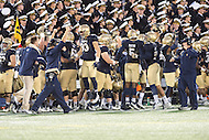 Annapolis, MD - OCT 8, 2016: Navy Midshipmen sideline celebrates during game between Houston and Navy at Navy-Marine Corps Memorial Stadium Annapolis, MD. The Midshipmen upset #6 Houston 46-40. (Photo by Phil Peters/Media Images International)