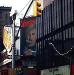 Winston smoking man, blowing smoke rings. Advertising hoarding in Times square approx 1975, Manhattan, New York, USA