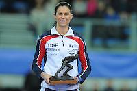 SPEED SKATING: STAVANGER: Sørmarka Arena, 31-01-2016, ISU World Cup, Brittany Bowe (USA) receives the Oscar Mathisen Award, ©photo Martin de Jong
