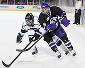 Matt Maher (Bentley - 2), Sean Gustin (HC - 8) - The Bentley University Falcons defeated the College of the Holy Cross Crusaders 3-2 on Saturday, December 28, 2013, at Fenway Park in Boston, Massachusetts.