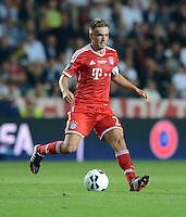 FUSSBALL  SUPERCUP  FINALE  2013  in Prag    FC Bayern Muenchen - FC Chelsea London          30.08.2013 Philipp Lahm (FC Bayern Muenchen)  Einzelaktion am Ball