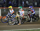 Heat 13 - Adams (green), Ulamek (yellow), Shields (blue) - Lakeside Hammers vs Swindon Robins - Sky Sports Elite League at Arena Essex, Purfleet - 17/08/07  - MANDATORY CREDIT: Gavin Ellis/TGSPHOTO - SELF-BILLING APPLIES WHERE APPROPRIATE. NO UNPAID USE. TEL: 0845 094 6026..