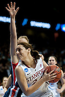 SPOKANE, WA - MARCH 28, 2011: Ashley Cimino, Jeanette Pohlen, Kayla Pedersen, Stanford Women's Basketball vs Gonzaga, NCAA West Regional Finals at the Spokane Arena on March 28, 2011.