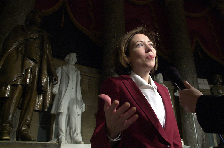 45joint022701 -- Sen. Maria Cantwell, answers questions during a T.V. interviews in Statuary Hall on President Bush's  address to the Joint Session of Congress.