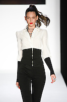 Georgina walks runway in a bebeBlack Fall 2011 outfit, at the Style 360 Fall 2011 fashion show, during New York Fashion Week.