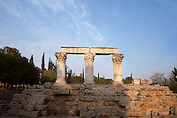 CORINTH, GREECE - APRIL 16 : A general view of Temple E, on April 16, 2007 in Corinth, Greece. Originally built during the early Augustan period, 1st century BC, Temple E was rebuilt after the earthquake of 77 AD. These three fine Corinthian capitals and columns, two of which have been reconstructed, standing on a raised stone terrace, are seen in the early morning light. Corinth, founded in Neolithic times, was a major Ancient Greek city, until it was razed by the Romans in 146 BC. Rebuilt a century later it was destroyed by an earthquake in Byzantine times. (Photo by Manuel Cohen)