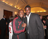 Clarence Seedorf with Bill Hamid of DC United at a reception for AC Milan at DAR Constitution Hall in Washington DC on May 24 2010.