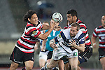 Tasesa Lavea tries to catch the ball after Brent Ward fails take from a high kick. ITM Cup Round 7 rugby game between Auckland and Counties Manukau, played at Eden Park, Auckland on Thursday August 11th..Auckland won 25 - 22.