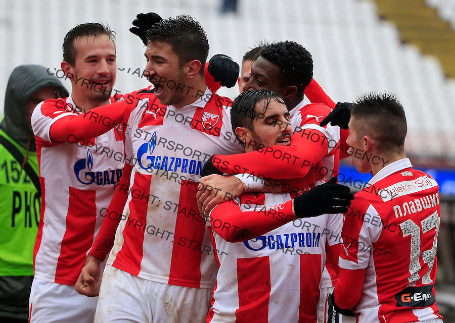 Fudbal Jelen Super League season 2015-2016<br /> Crvena Zvezda v Vozdovac<br /> Hugo Oliveira Vieira (C0 celebrate scoring a goal with the Srdjan Plavsic (R) Vukasin Jovanovic and Marko Grujic (L)<br /> Beograd, 28.11.2015.<br /> foto: Srdjan Stevanovic/Starsportphoto&copy;