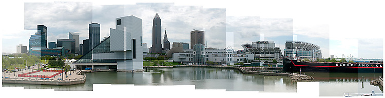 The Cleveland skyline as viewed from the inner harbor.