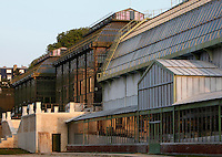 Jardin des Plantes, Museum National d'Histoire Naturelle, Paris, France. Low angle view of the Glasshouses in the morning light, left to right: Tropical Rainforest Glasshouse (formerly Le Jardin d'Hiver or Winter Gardens), 1936, René Berger,  and alongside it the Desert and Arid Land Glasshouse, 1930s; New Caledonia Glasshouse (formerly Mexican Hothouse), 1834, Charles Rohault de Fleury, with the new stone stairway entrance in front of it; Plant History Glasshouse (formerly Australian Glasshouse), 1830s, Rohault de Fleury.