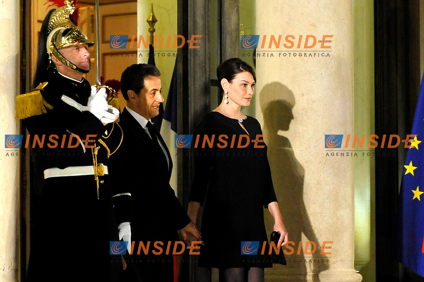 Nicolas Sarkozy Presidente Francia, Carla Bruni.Parigi 26/1/2012 Eliseo.Cena in onore del Presidente della Costa d'Avorio in Visita in Francia.Foto Insidefoto / Gerard Roussel / Panoramic .ITALY ONLY