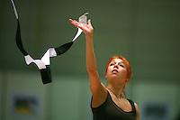 Natalya Godunko of Ukraine re-catches  ribbon during training before Burgas Grand Prix Rhythmic Gymnastics on May 5, 2006.  (Photo by Tom Theobald)