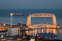 &quot;Duluth Tranquility&quot;<br /> This scene was enjoyed on a lovely November evening. The Cornelia was anchored on Lake Superior just beyond Duluth's Aerial Lift Bridge.