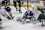 10 February 2017: University of New Hampshire Wildcat Goaltender DannyTirone, a Junior from Trumbull, CT, in third period action against the University of Vermont Catamounts at Gutterson Fieldhouse in Burlington, Vermont. The Wildcats came from behind to defeat the Catamounts 4-2 in the first game of their 2-game Hockey East Series. Mandatory Credit: Ed Wolfstein Photo *** RAW (NEF) Image File Available ***
