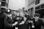 Arthur Scargill resisting arrest Grunwick Strike North London UK