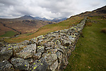 Scafell pike from the Hardknott Roman Fort, Lake District, Cumbria, UK