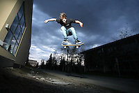 Skateboarder Will Ingram in Anchorage, Alaska. 2010