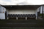 Bacup Borough 4 Holker Old Boys 1, 25/04/2016. Brain Boys West View Stadium, NorthWest Counties League Division One. The away dugout at the Brain Boys West View Stadium before Bacup Borough play Holker Old Boys in a NorthWest Counties League division one fixture. Formed as Bacup in 1879, the club moved into their current home in 1889 and have been known as Bacup Borough since the 1920s, apart from a brief recent spell when they added the name Rossendale to their name. With both teams challenging for play-off places, Bacup Borough won this fixture by 4-1, watched by a crowd of 50. Photo by Colin McPherson.