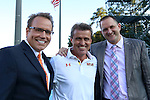 13 September 2013: Maryland head coach Sasho Cirovski (center) with television broadcasters Dean Linke (left) and John Bouille (right). The University of North Carolina Tar Heels hosted the University of Maryland Terrapins at Fetzer Field in Chapel Hill, NC in a 2013 NCAA Division I Men's Soccer match. The game ended in a 2-2 tie after two overtimes.
