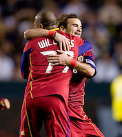 Real Salt Lake midfielder Kyle Beckerman (5) is congratulated by teammate Andy Williams (77) after knotting up the game. The LA Galaxy defeated Real Salt Lake 2-1 at Home Depot Center stadium in Carson, California on Saturday April 17, 2010.  .
