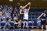 13 November 2016: Penn's Sydney Stipanovich (left) blocks a shot by Duke's Rebecca Greenwell (23). The Duke University Blue Devils hosted the University of Pennsylvania Quakers at Cameron Indoor Stadium in Durham, North Carolina in a 2016-17 NCAA Division I Women's Basketball game. Duke defeated Penn 68-55.