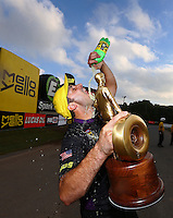 Oct 2, 2016; Mohnton, PA, USA; NHRA pro stock driver Vincent Nobile celebrates after winning the Dodge Nationals at Maple Grove Raceway. Mandatory Credit: Mark J. Rebilas-USA TODAY Sports