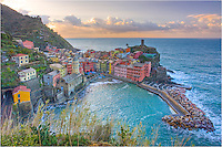 A hike up the small hill in the predawn light gives you a great view of the sleeping village of Vernazza, Italy. This wonderful treasure is part of the Cinque Terre National Park on the Ligurian Coast of Italy. If you ever get the chance, go there! And hike in the morning and enjoy the amazing sights of the 5 Terre without the daytime crowds.