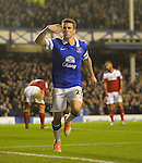 Football-Everton v Fulham-Barclays Premier League-Goodison Park-14/12/2013-Pictures by Paul Currie-KEEP-Everton's Séamus Coleman celebrates scoring Evertons 3rd goal