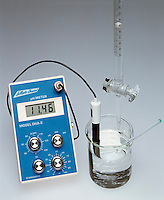 TITRATION OF AN ACID WITH A BASE W/pH METER<br /> (2 of 5 - Variations Available)<br /> NaOH in Buret Added To HCl in Beaker<br /> .10M sodium hydroxide is added to .10M hydrochloric acid. The pH increases to 11.46.  The H3O+ concentration is reduced by neutralization which brings it to its equivalence point, H3O+(aq) + OH-(aq) -&gt; 2H2O(l), and then beyond.