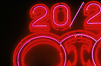 NEON SIGNS ARE POSITIVE<br /> COLUMN DISCHARGE LAMPS<br /> Optometrist sign.<br /> From Mixing Neon &amp; Other Gases<br /> Neon gas produces a red color. Almost every color other than red is produced using argon, mercury &amp; phosphor coatings. All neon tubes are positive-column discharge lamps, regardless of filling.